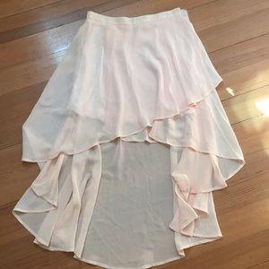 Blush pink high low skirt